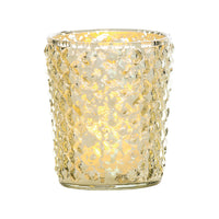 Vintage Mercury Glass Candle Holder (3-Inch, Zariah Design, Gold) - For Use with Tea Lights - For Home Decor, Parties, and Wedding Decorations