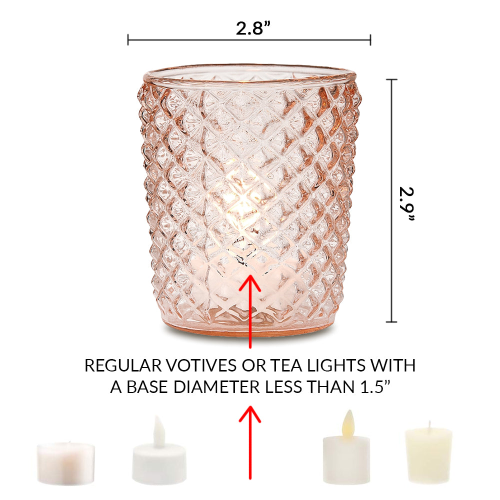 Mercury Glass Tealight Holder (3-Inches, Zariah Design, Rose Gold Pink) - For Use with Tea Lights - For Home Decor, Parties and Wedding Decorations - PaperLanternStore.com - Paper Lanterns, Decor, Party Lights & More