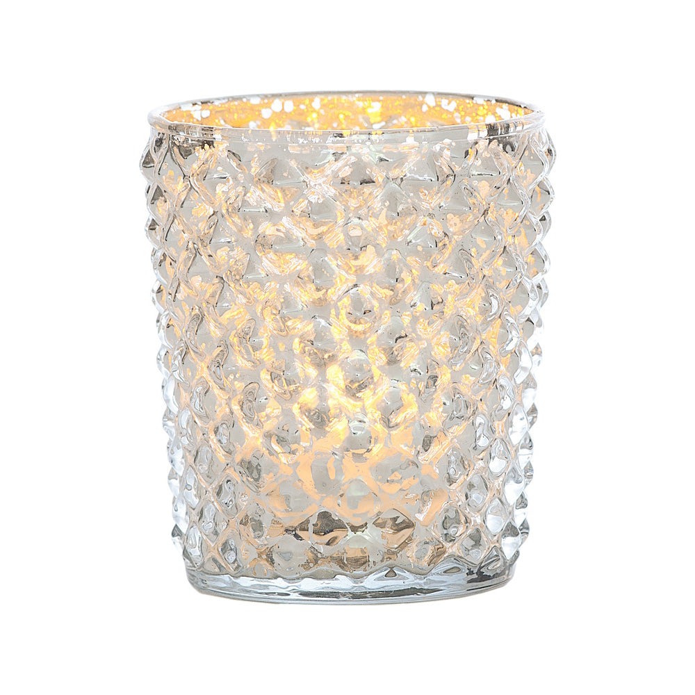 Vintage Mercury Glass Candle Holder (3-Inch, Zariah Design, Silver) - For Use with Tea Lights - For Home Decor, Parties, and Wedding Decorations - PaperLanternStore.com - Paper Lanterns, Decor, Party Lights & More