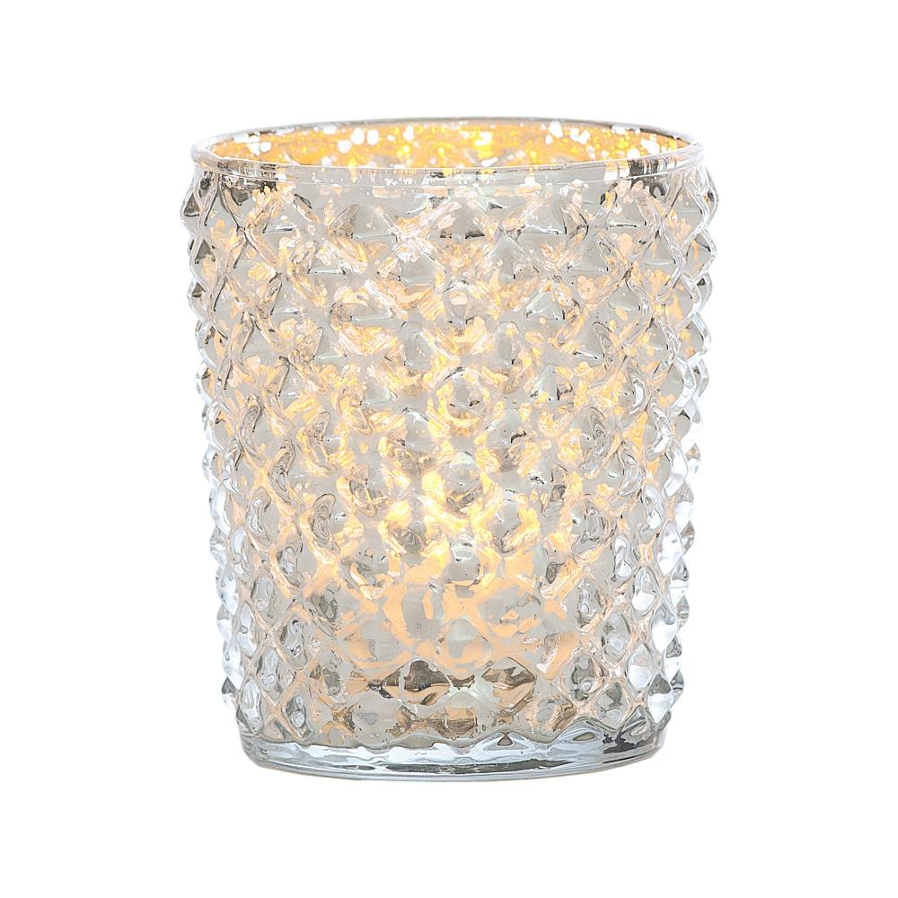 Best of Show Vintage Mercury Glass Votive Tea Light Candle Holders - Silver (6 PACK, Assorted Designs)