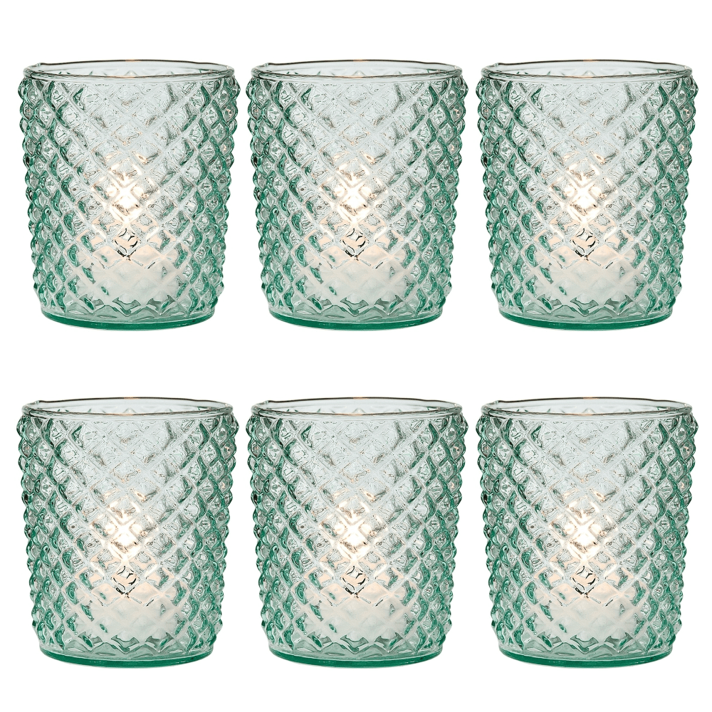 6 Pack | Vintage Glass Candle Holders (3-Inch, Zariah Design, Vintage Green) - For Use with Tea Lights - For Home Decor, Parties, and Wedding Decorations - PaperLanternStore.com - Paper Lanterns, Decor, Party Lights & More