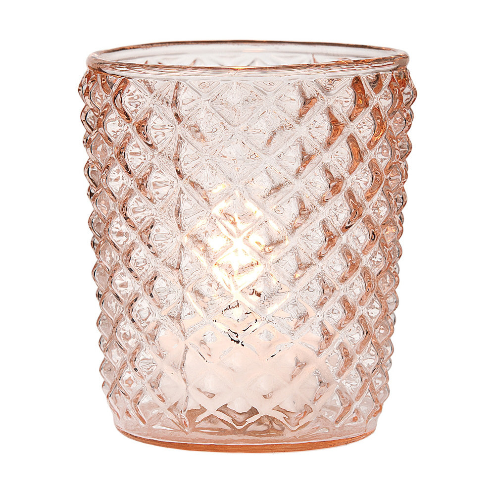 6 Pack | Vintage Glass Candle Holder (3-Inch, Zariah Design, Vintage Pink) - For Use with Tea Lights - For Home Decor, Parties, and Wedding Decorations