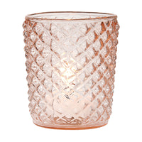 Vintage Glass Candle Holder (3-Inch, Zariah Design, Vintage Pink) - For Use with Tea Lights - For Home Decor, Parties and Wedding Decorations - PaperLanternStore.com - Paper Lanterns, Decor, Party Lights & More