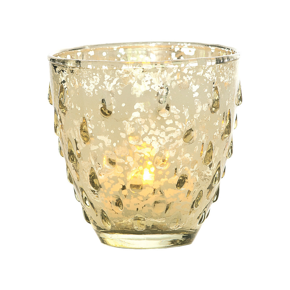 6 Pack | Vintage Mercury Glass Candle Holder (3.25-Inch, Small Deborah Design, Gold) - For Use with Tea Lights - For Home Decor, Parties and Wedding Decorations - PaperLanternStore.com - Paper Lanterns, Decor, Party Lights & More