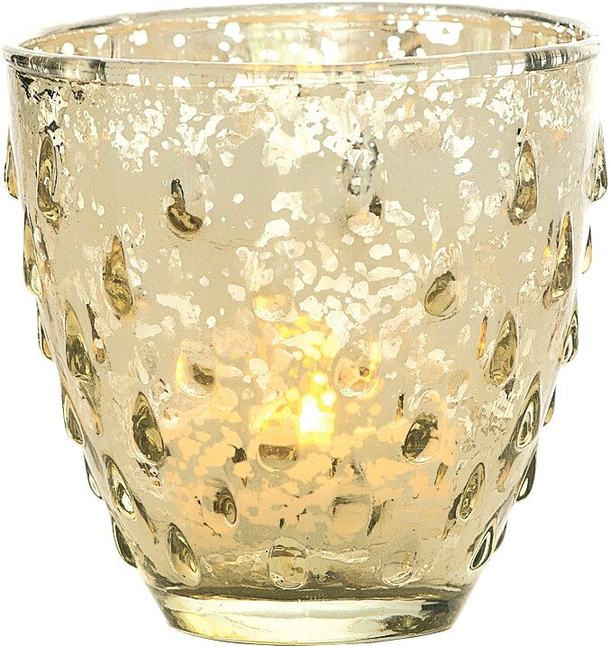Vintage Mercury Glass Candle Holder (3.25-Inch, Small Deborah Design, Gold) - For Use with Tea Lights - Home Decor, Parties and Wedding Decorations - PaperLanternStore.com - Paper Lanterns, Decor, Party Lights & More