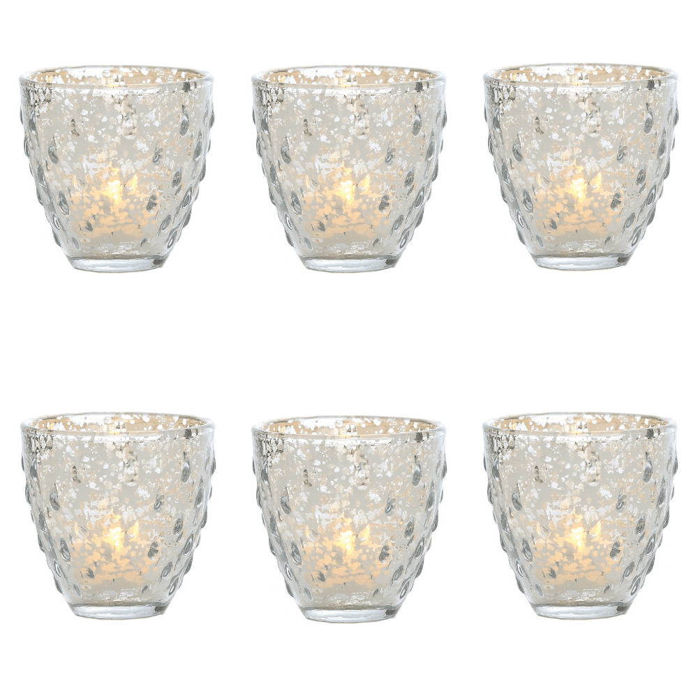 6 Pack | Vintage Mercury Glass Candle Holder (3.25-Inch, Small Deborah Design, Silver) - For Use with Tea Lights - For Home Decor, Parties, and Wedding Decorations