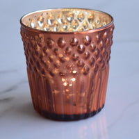 6 Pack | Mercury Glass Tealight Holders (2.75-Inches, Ophelia Design, Rustic Copper Red) - For Use with Tea Lights - For Home Decor, Parties and Wedding Decorations