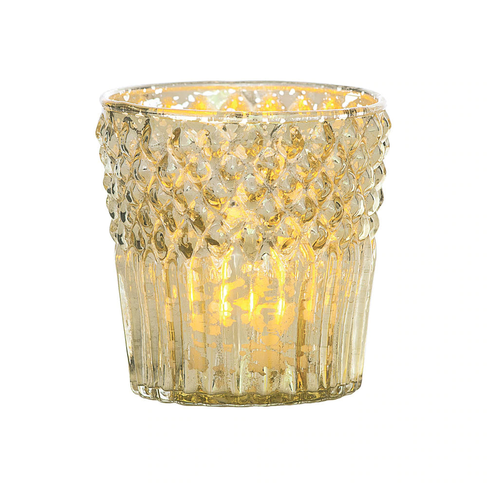 Vintage Mercury Glass Candle Holder (2.75-Inch, Ophelia Design, Gold) - For Use with Tea Lights - For Home Decor, Parties and Wedding Decorations - PaperLanternStore.com - Paper Lanterns, Decor, Party Lights & More