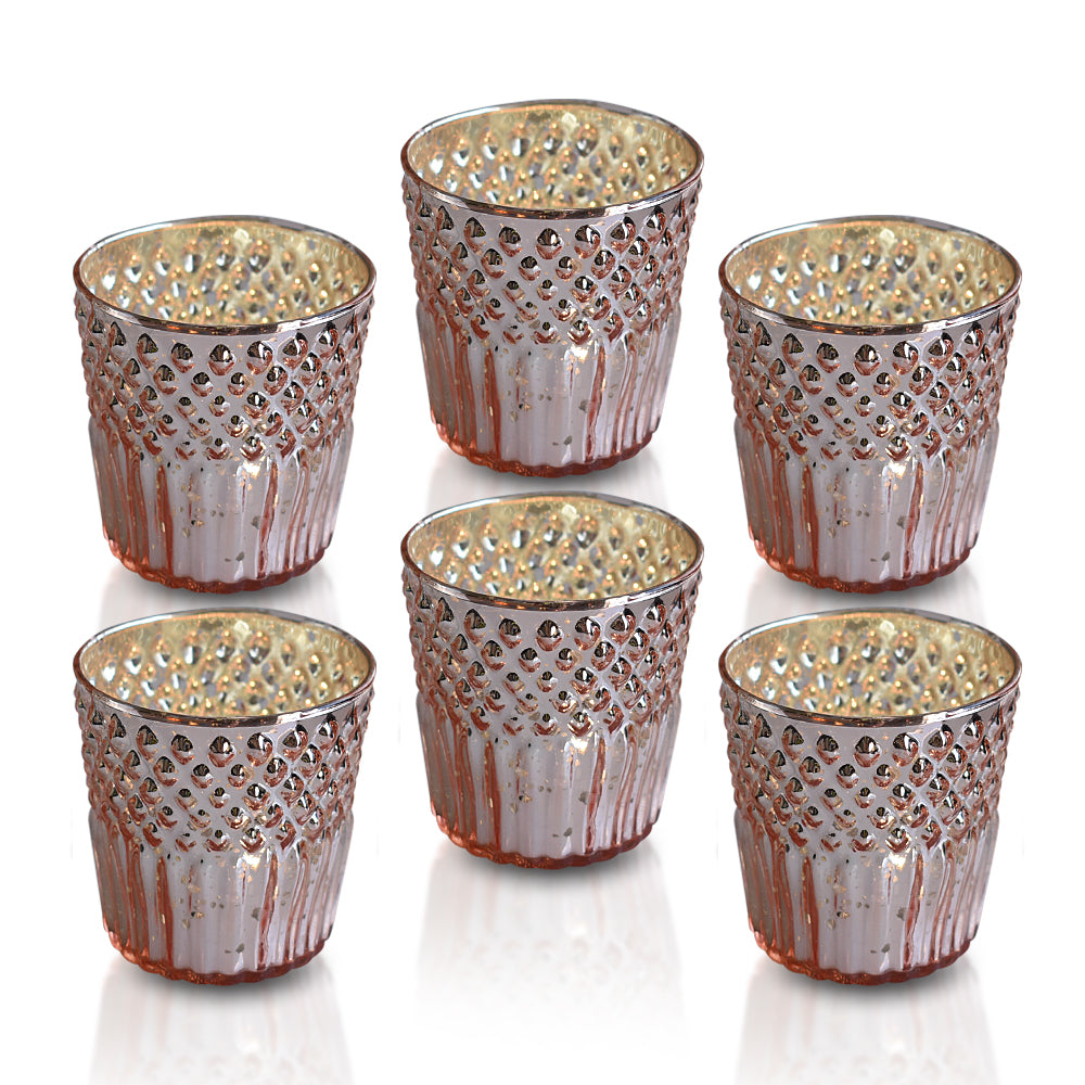 6 Pack | Ophelia Mercury Glass Tealight Holders (Rose Gold Pink) For Use with Tea Lights - For Home Decor, Parties and Wedding Decorations - Mercury Glass Votive Holders