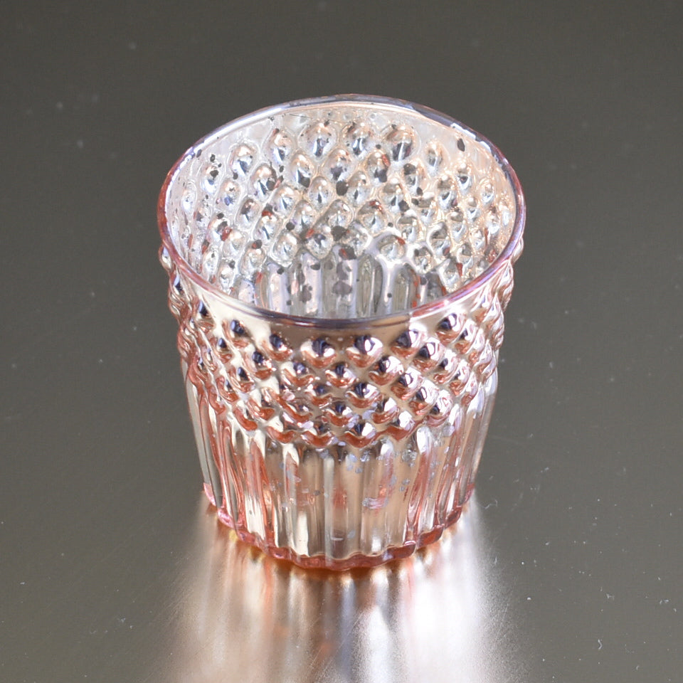Vintage Mercury Glass Tealight Holder (2.75-Inch, Ophelia Design, Rose Gold Pink) - For Use with Tea Lights - For Home Decor, Parties and Wedding Decorations - PaperLanternStore.com - Paper Lanterns, Decor, Party Lights & More