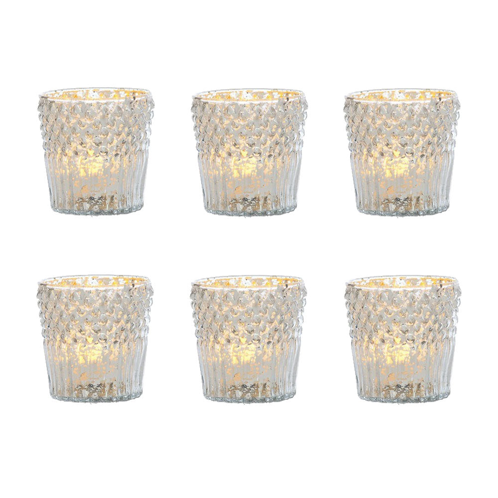 6 Pack | Vintage Mercury Glass Candle Holder (3-Inch, Ophelia Design, Silver) - For Use with Tea Lights - For Home Decor, Parties, Wedding Decorations