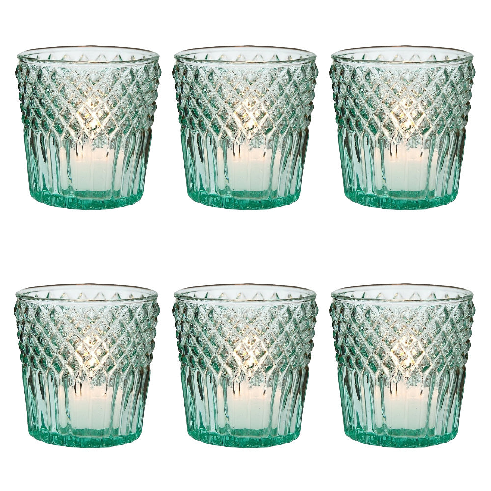 6 Pack | Vintage Glass Candle Holders (3-Inch, Ophelia Design, Vintage Green) - For Use with Tea Lights - Home Decor, Parties, and Wedding Decorations - PaperLanternStore.com - Paper Lanterns, Decor, Party Lights & More