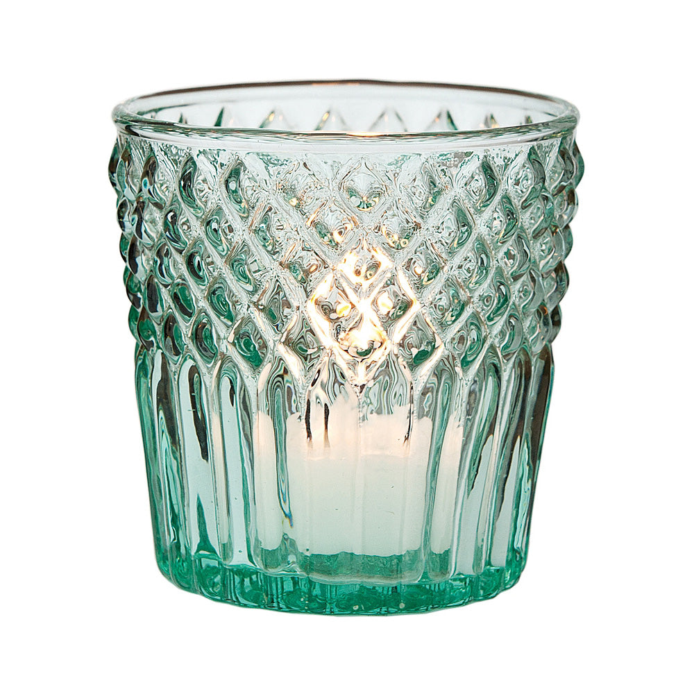 Vintage Glass Candle Holder (3-Inch, Ophelia Design, Vintage Green) - For Use with Tea Lights - For Home Decor, Parties, and Wedding Decorations