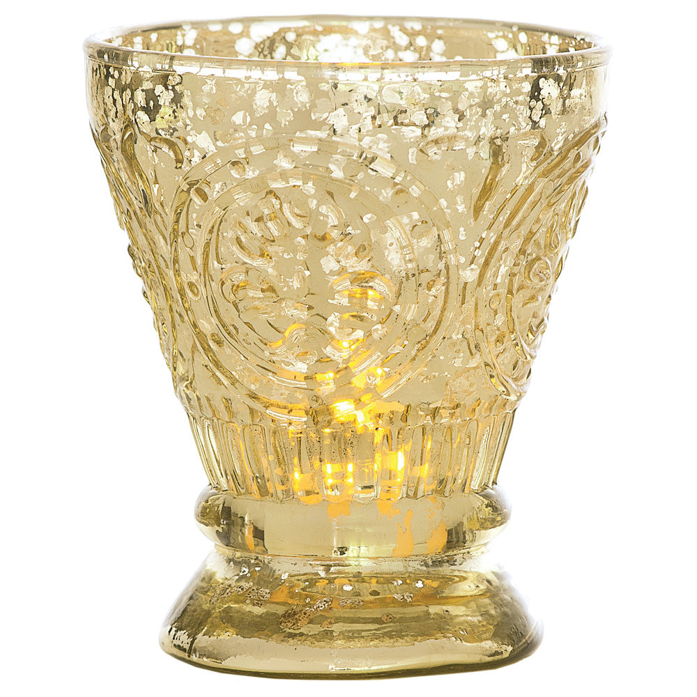 Vintage Mercury Glass Candle Holder (4-Inch, Rosemary Design, Gold) - For Use with Tea Lights - For Home Decor, Parties, and Wedding Decorations