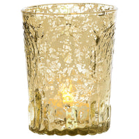Vintage Mercury Glass Candle Holder (4-Inch, Heather Design, Gold) - For Use with Tea Lights - For Home Decor, Parties, and Wedding Decorations