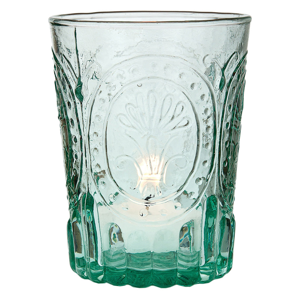 Vintage Glassware, Votive Holder, Vase (4-Inch, Heather Design, Vintage Green) - FOOD SAFE Drinking Glass - For Parties, Weddings, and Home Use - PaperLanternStore.com - Paper Lanterns, Decor, Party Lights & More