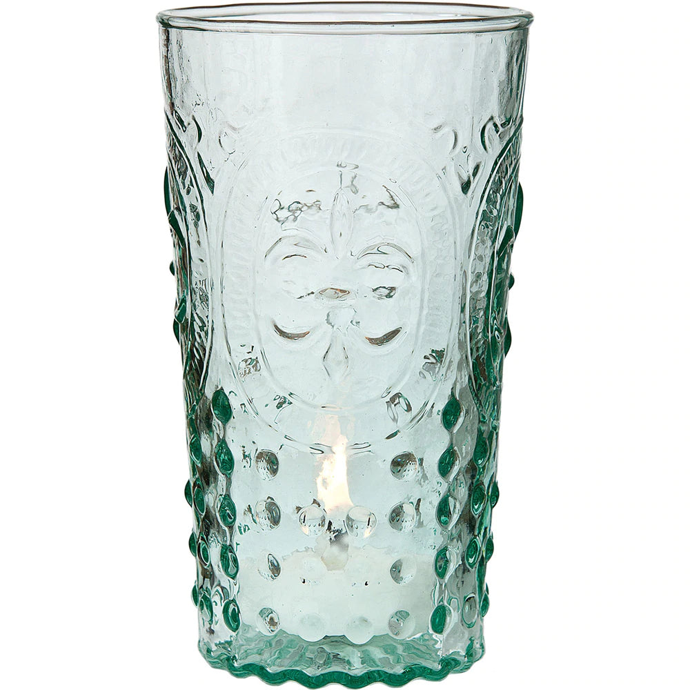 Vintage Glassware, Votive Holder, Vase (5.25-Inch, Ivy Design, Fleur de Lis Motif, Vintage Green) - FOOD SAFE - For Parties, Weddings, and Home Use