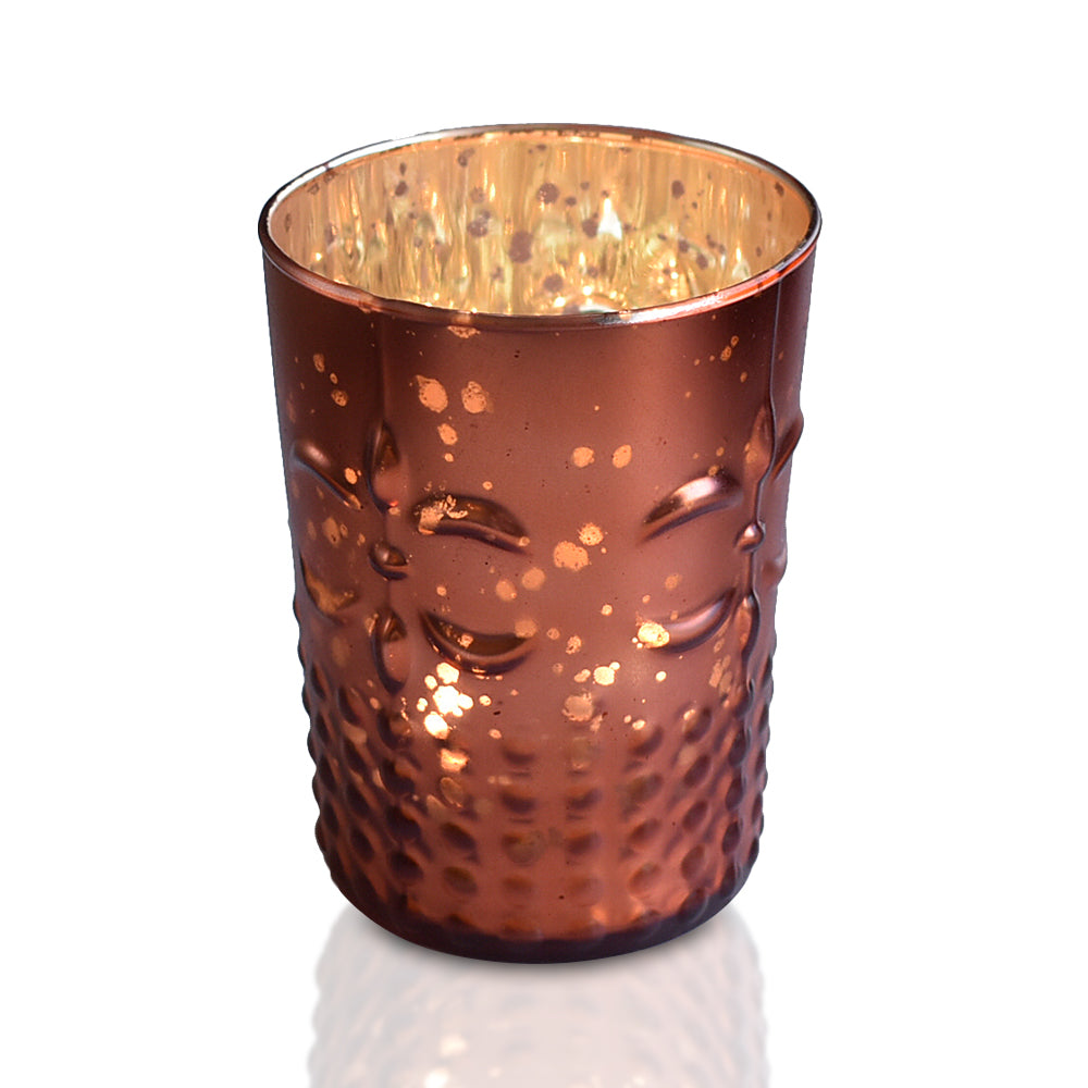 Fleur Mercury Glass Tealight Holder (Rustic Copper Red, Single) For Use with Tea Lights - For Home Decor, Parties and Wedding Decorations - Mercury Glass Votive Holders