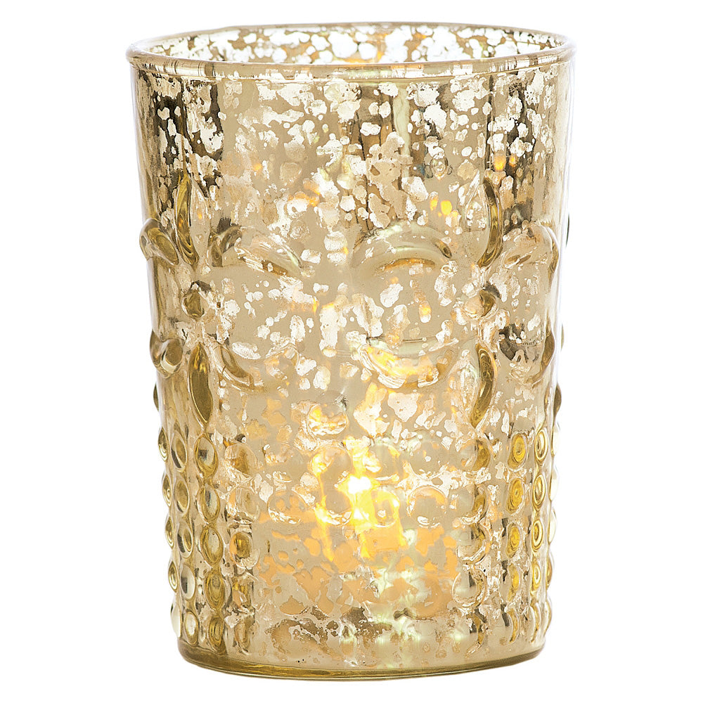 Vintage Mercury Glass Candle Holder (4-Inch, Fleur Design, Flower Motif, Gold) - For Home Decor, Party Decorations, and Wedding Centerpieces
