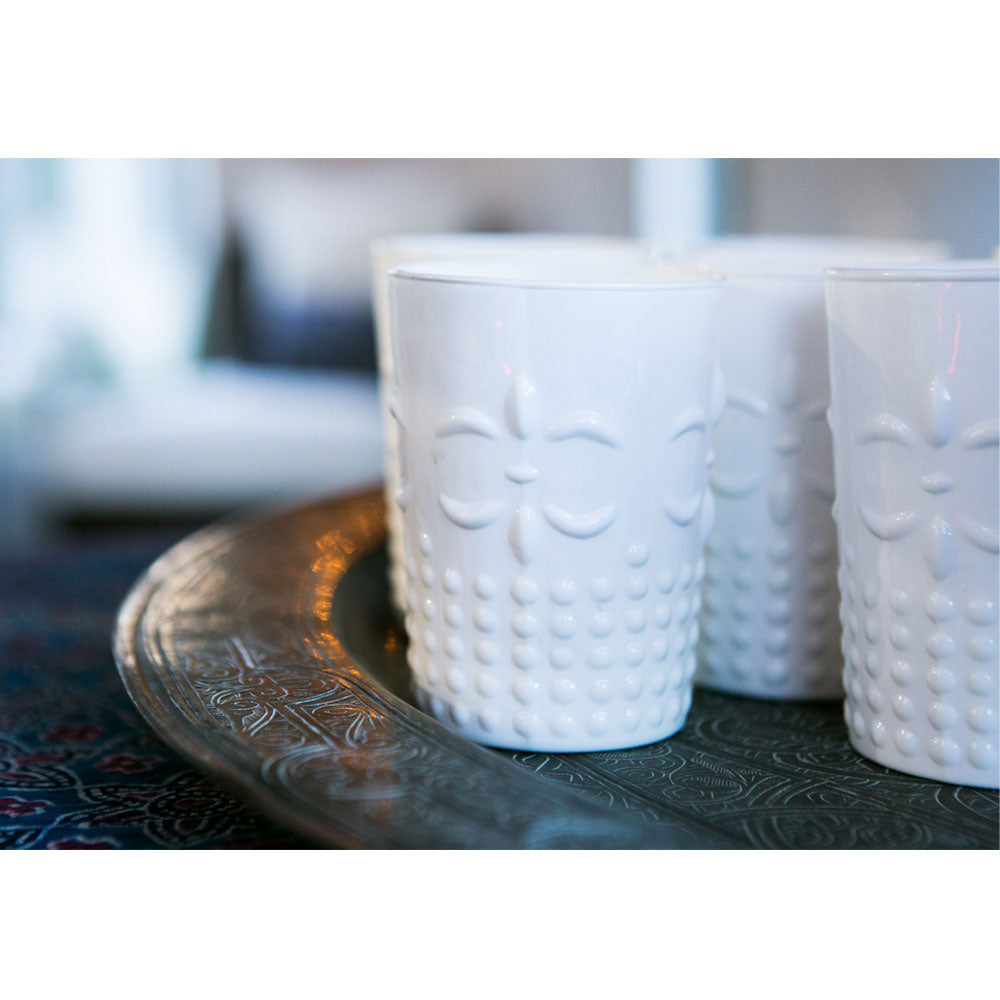 6 Pack | Vintage Milk Glass Vase or Candle Holder (4-Inch, Fleur Design, Flower Motif, White) - Home Decor, Party Decorations and Wedding Centerpieces