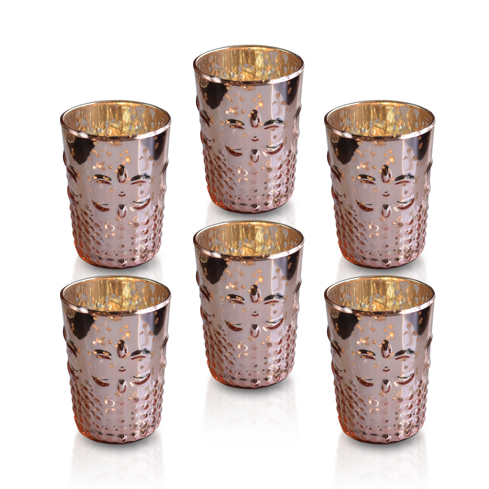 6 Pack | Fleur Mercury Glass Tealight Holders (Rose Gold Pink) For Use with Tea Lights - For Home Decor, Parties and Wedding Decorations - Mercury Glass Votive Holders - PaperLanternStore.com - Paper Lanterns, Decor, Party Lights & More