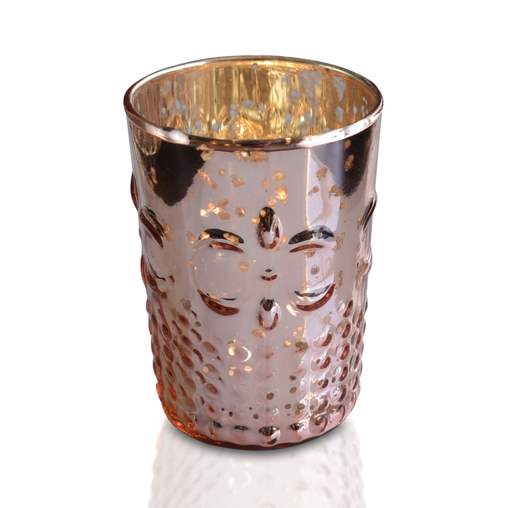 BLOWOUT Fleur Mercury Glass Tealight Holder (Rose Gold Pink, Single) For Use with Tea Lights - For Home Decor, Parties and Wedding Decorations