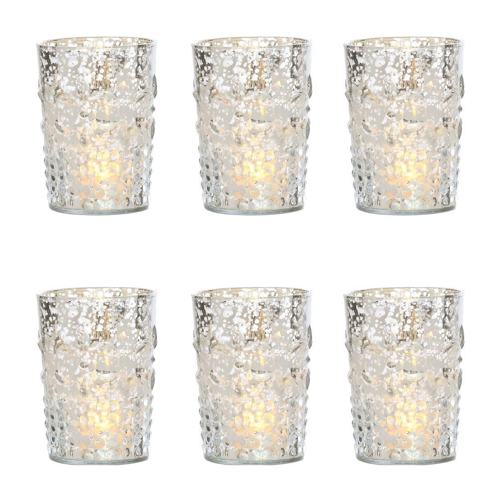 6 Pack | Vintage Mercury Glass Candle Holder (4-Inch, Fleur Design, Flower Motif, Silver) - For Home Decor, Party Decorations and Wedding Centerpieces