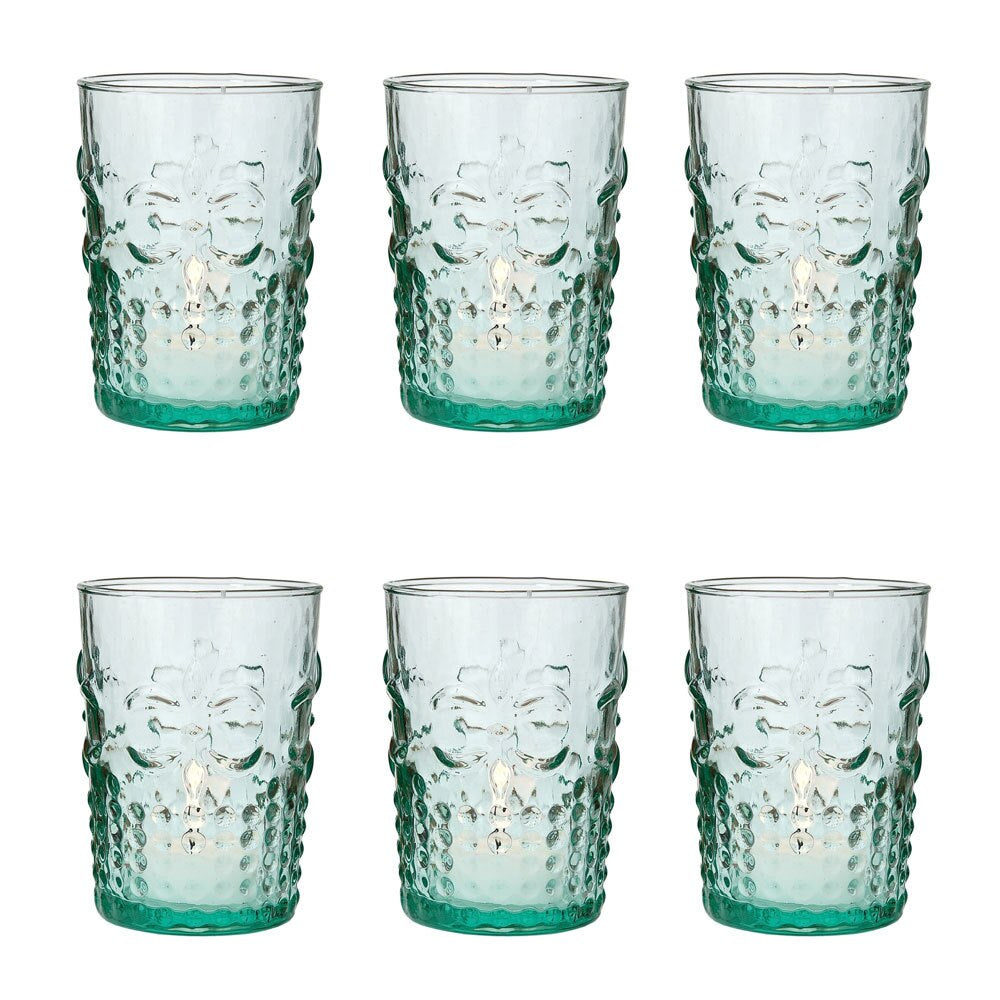 6 Pack | Vintage Glassware, Votive Holder, Vase (4-Inch, Fleur Design, Flower Motif, Vintage Green) - Food Safe - For Parties, Weddings, and Home Use