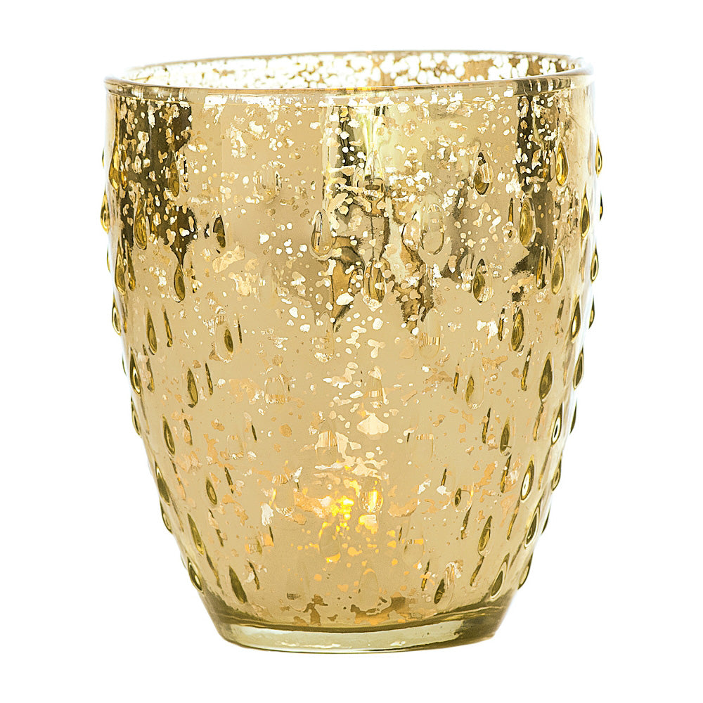 BLOWOUT Vintage Mercury Glass Candle Holder (5.25-Inch, Large Deborah Design, Gold) - For Home Decor, Party Decorations, and Wedding Centerpieces