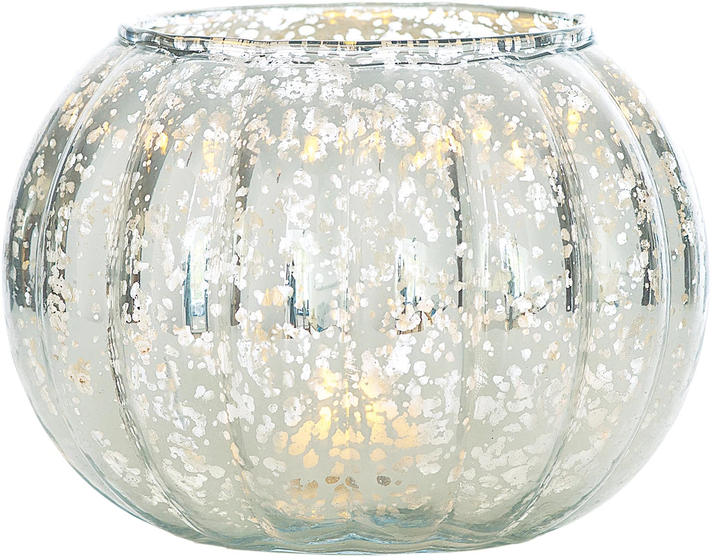 Large Vintage Mercury Glass Candle Holder (5-Inch, Autumn Design, Silver) - Decorative Candle Holder - For Parties, Weddings, and Homes - PaperLanternStore.com - Paper Lanterns, Decor, Party Lights & More