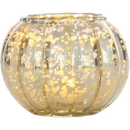 Small Vintage Mercury Glass Candle Holder (3.5-Inch, Autumn Design, Gold) - For Home Decor, Party Decorations, and Wedding Centerpieces