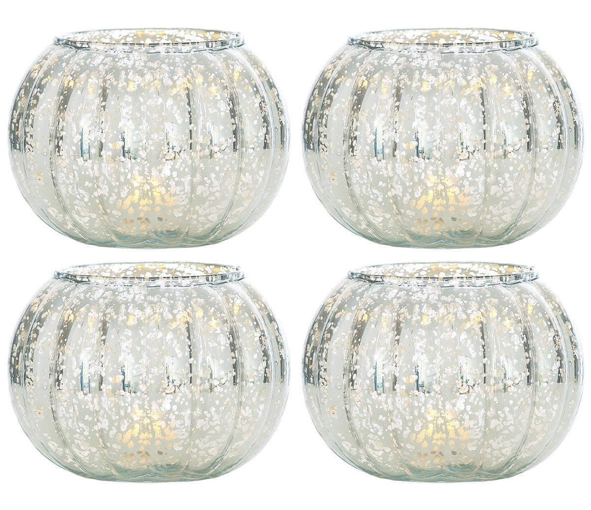4 Pack | Small Vintage Mercury Glass Candle Holder (3.5-Inch, Autumn Design, Silver) - For Home Decor, Party Decorations, and Wedding Centerpieces