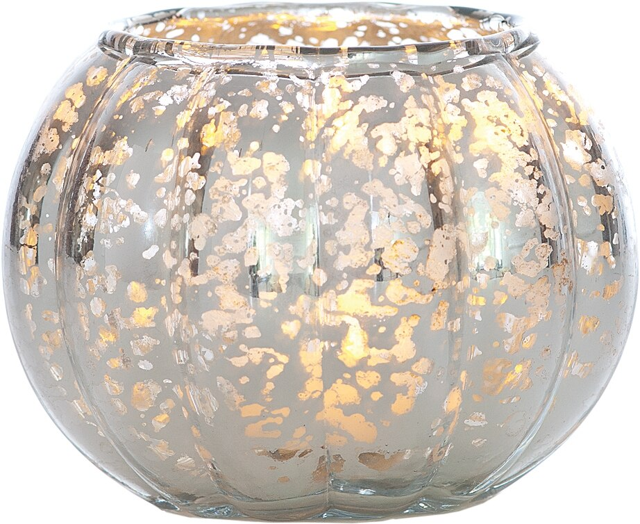 Small Vintage Mercury Glass Candle Holder (3.5-Inch, Autumn Design, Silver) - For Home Decor, Party Decorations, and Wedding Centerpieces