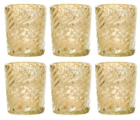 6 Pack | Mercury Glass Candle Holder (3-Inch, Grace Design, Gold) - for use with Tea Lights - for Home Décor, Parties and Wedding Decorations