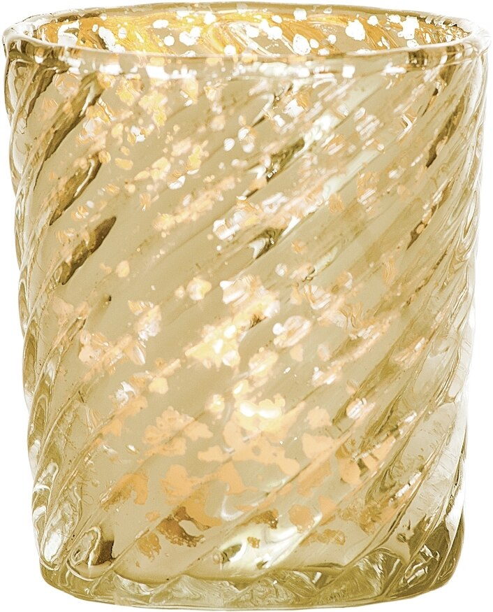 Mercury Glass Candle Holder (3-Inch, Grace Design, Gold) - for use with Tea Lights - for Home Décor, Parties and Wedding Decorations