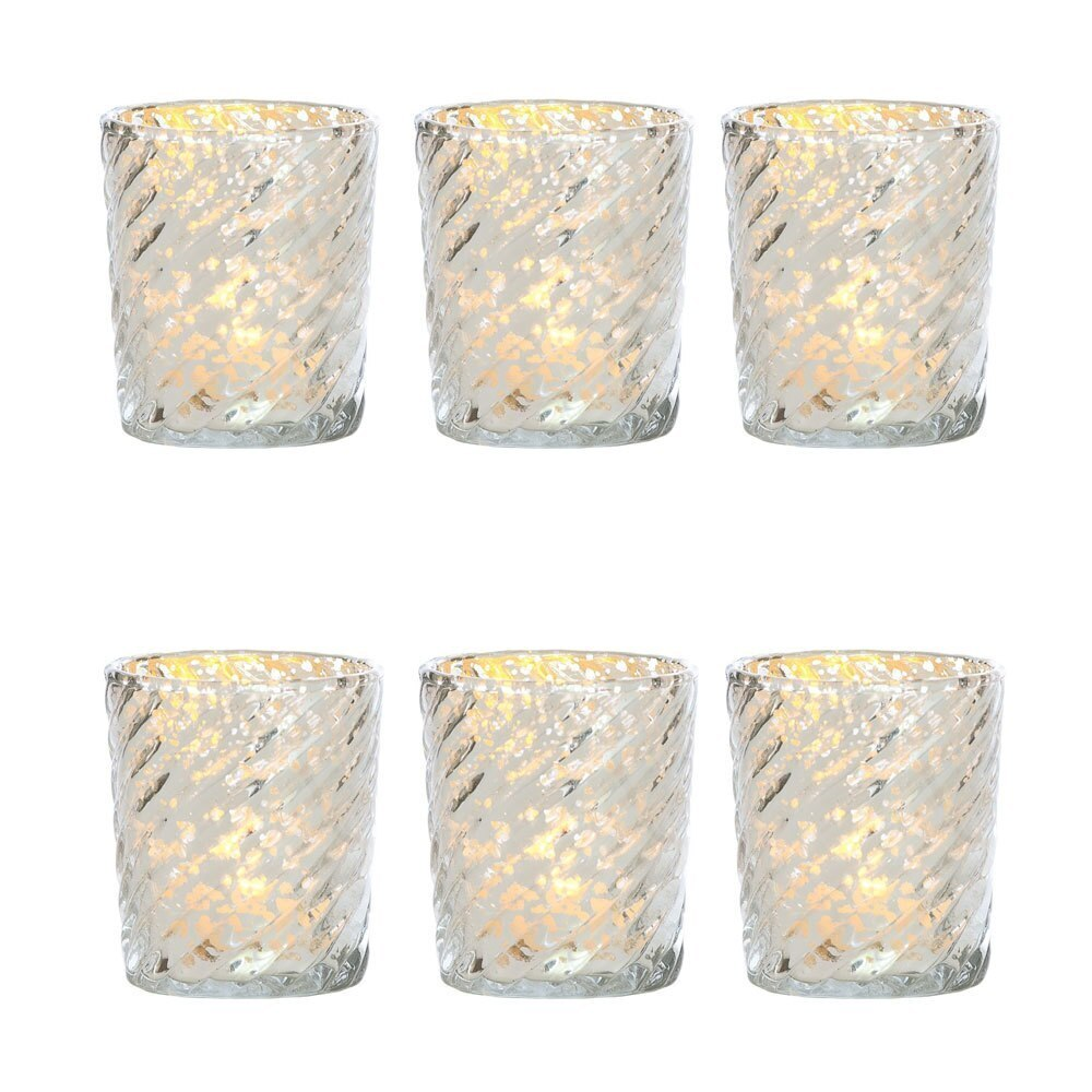 6 Pack | Mercury Glass Candle Holder (3-Inch, Grace Design, Silver) - for use with Tea Lights - for Home Décor, Parties and Wedding Decorations