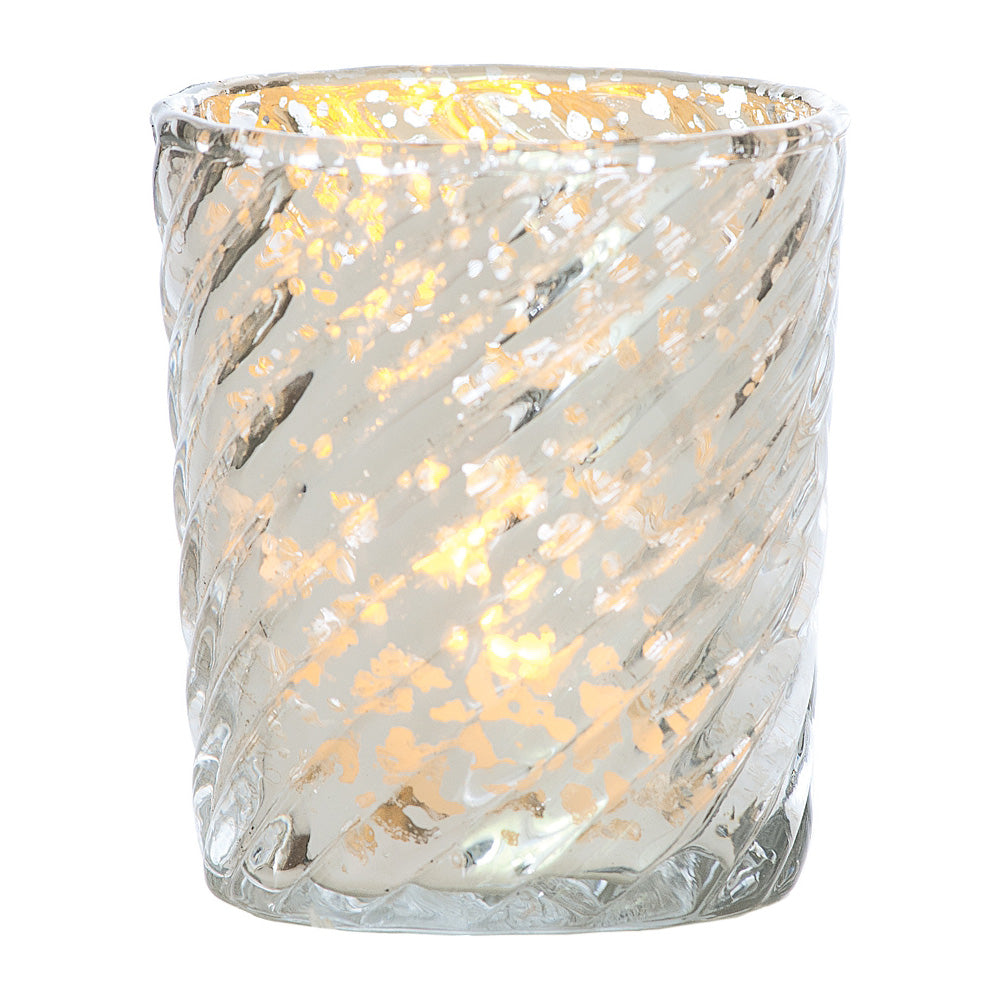 Mercury Glass Candle Holder (3-Inch, Grace Design, Silver) - for use with Tea Lights - for Home Décor, Parties and Wedding Decorations