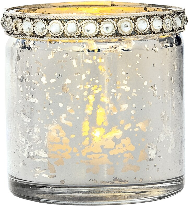 Vintage Mercury Glass Candle Holder with Rhinestones (2.5-Inch, Thea Design, Silver) - For Use with Tea Lights - For Home Decor, Parties, and Wedding Decorations