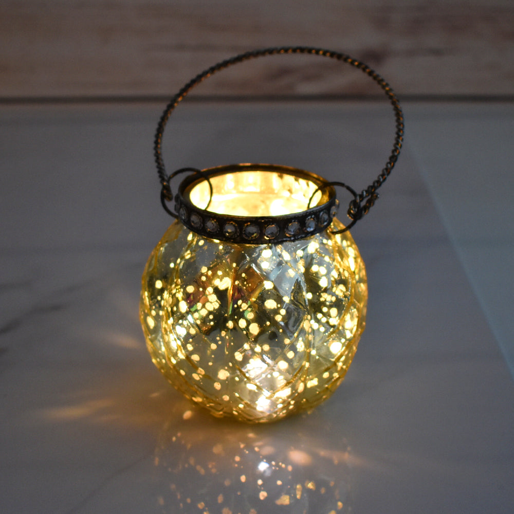 Hanging Mercury Glass Candle Holder with Rhinestones (2.5-Inch, Aria Design, Gold) - For Use with Tea Lights - For Home Decor, Parties, and Wedding Decorations - PaperLanternStore.com - Paper Lanterns, Decor, Party Lights & More