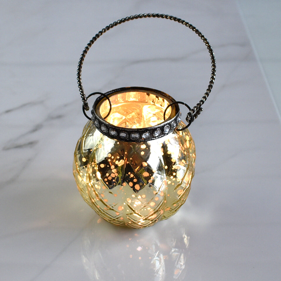 Hanging Mercury Glass Candle Holder with Rhinestones (2.5-Inch, Aria Design, Gold) - For Use with Tea Lights - For Home Decor, Parties, and Wedding Decorations
