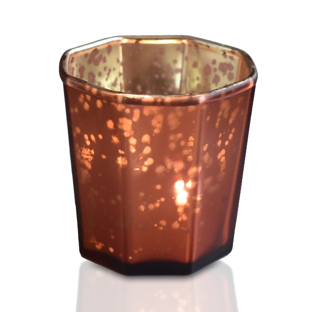 BLOWOUT 6 Pack | Patricia Mercury Glass Tealight Holders (Rustic Copper Red) For Use with Tea Lights