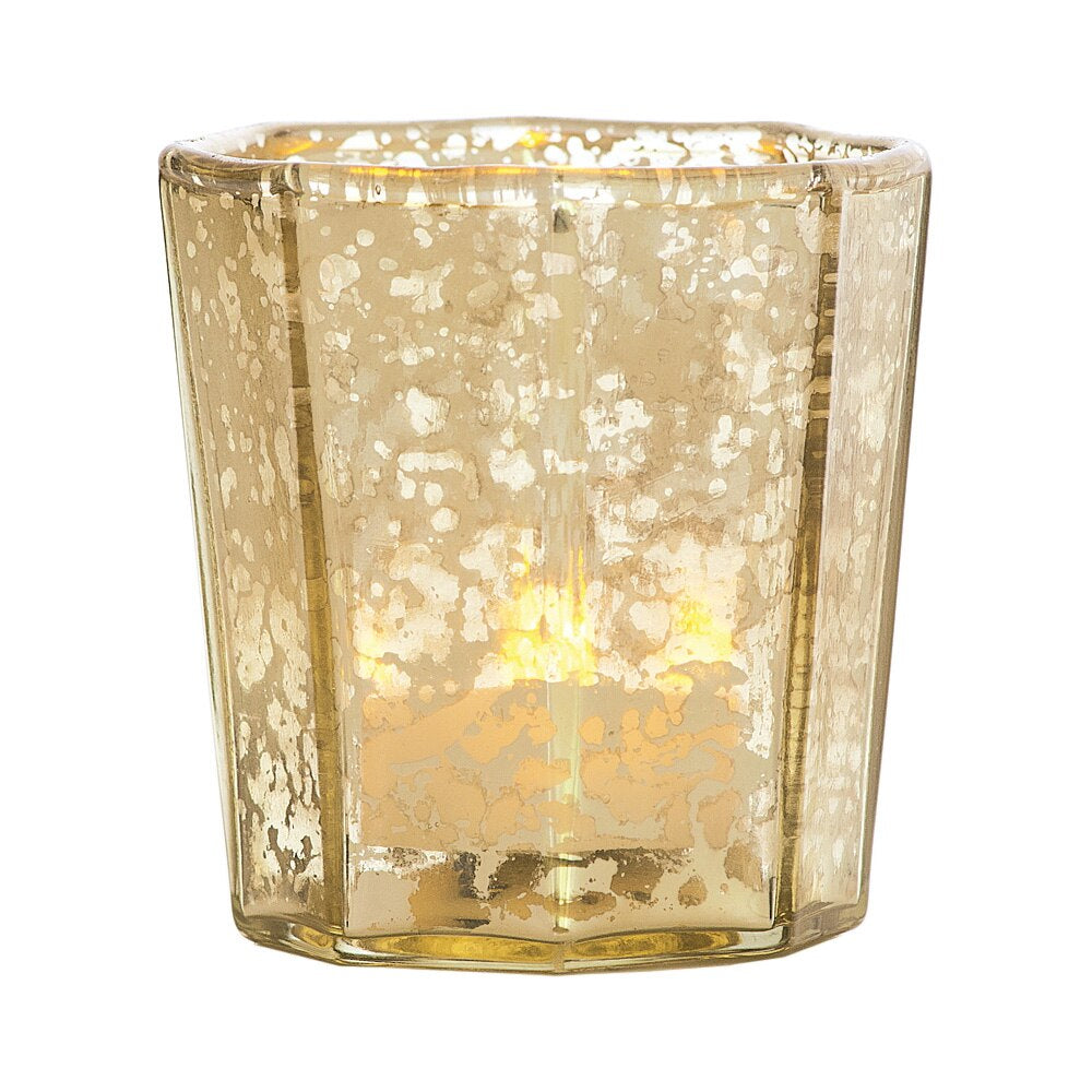 Vintage Mercury Glass Candle Holder (2.75-Inch, Patricia Design, Gold) - For Use with Tea Lights - For Home Decor, Parties, and Wedding Decorations - PaperLanternStore.com - Paper Lanterns, Decor, Party Lights & More
