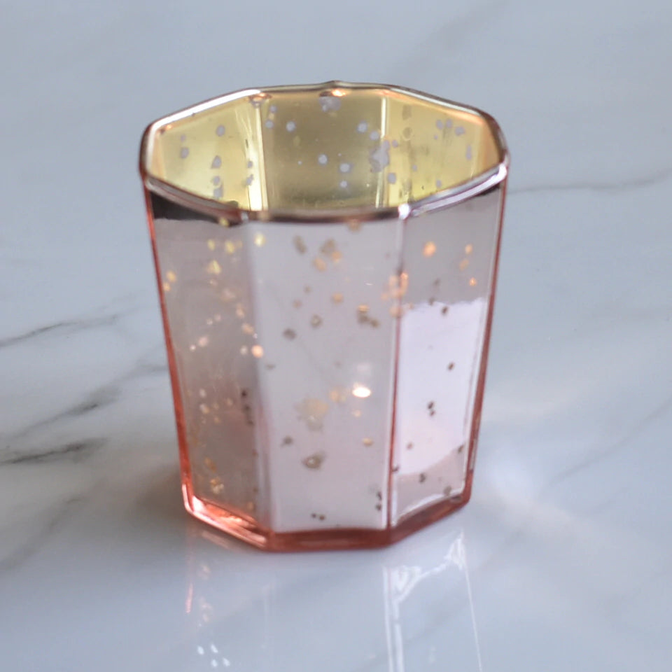 Patricia Mercury Glass Tealight Holder (Rose Gold Pink, Single) For Use with Tea Lights - For Home Decor, Parties and Wedding Decorations