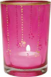 BLOWOUT Gilded Glass Candle Holder (3.5-Inch, Justine Design, Fuchsia Pink, Vertical Accents) - For Use with Tea Lights - For Home Decor and Wedding Decorations