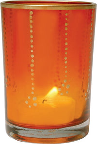 Gilded Glass Candle Holder (3.5-Inch, Justine Design, Orange, Vertical Accents) - Use with Tea Lights - Home Decor, Parties, and Wedding Decorations