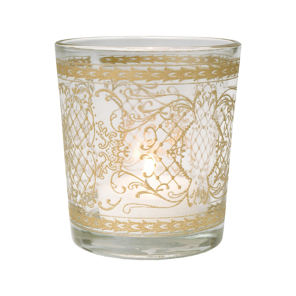 Glass Candle Holder (3.5-Inch, Sarah Design, Clear, Scrolling Gilded Accents) - For Use with Tea Lights - Home Decor, Parties and Wedding Decorations - PaperLanternStore.com - Paper Lanterns, Decor, Party Lights & More