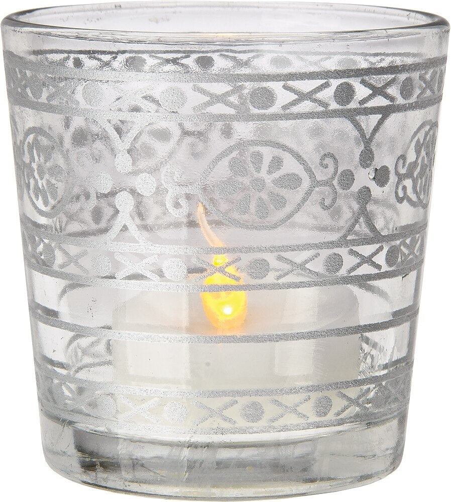 BLOWOUT Glass Candle Holder (2.5-Inch, Elisa Design, Clear, Mehndi Silver Accents) - For Use with Tea Lights - For Home Decor, Parties and Wedding Decorations