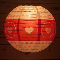 "14"" Red / White Valentine's Day Heart Paper Lantern, Even Ribbing, Hanging Decoration"