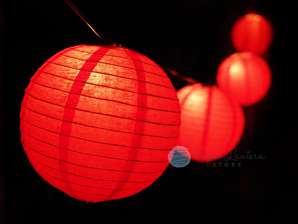 "8"" Valentine's Day Red Paper Lantern String Light COMBO Kit (12 FT, EXPANDABLE, White)"