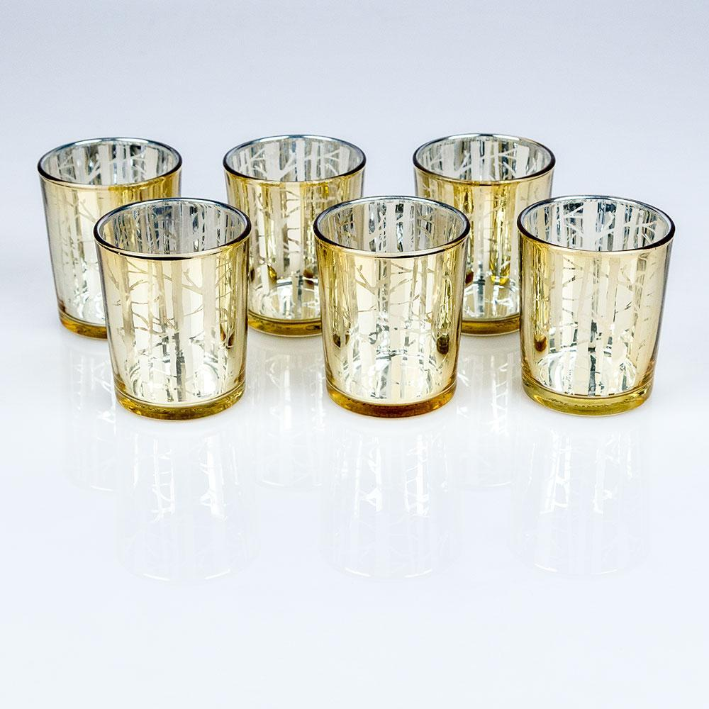 BLOWOUT Birch Forest Votive Tea Light Glass Candle Holder - Gold (2.5 Inches) (6 PACK) - PaperLanternStore.com - Paper Lanterns, Decor, Party Lights & More